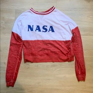 NASA red and white cropped long sleeve tee shirt